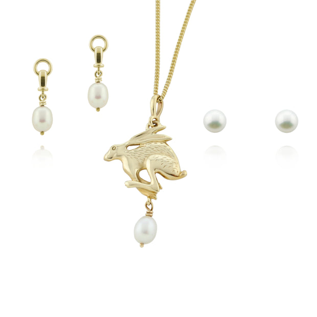 Designer solid 9ct yellow gold hare necklace with cultured pearl necklace, drop ascot pearl earring and pearl studs.