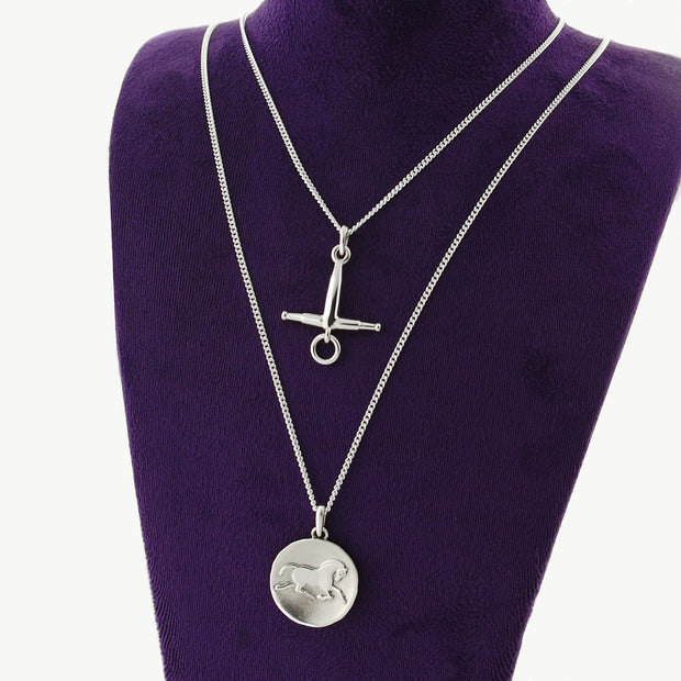 Two designer Horse coin and horsebit inspired necklaces on dark purple display bust.