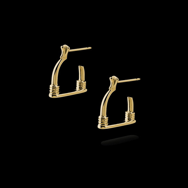 designer 9ct gold vintage stirrup inspired hoop Badminton earrings on black