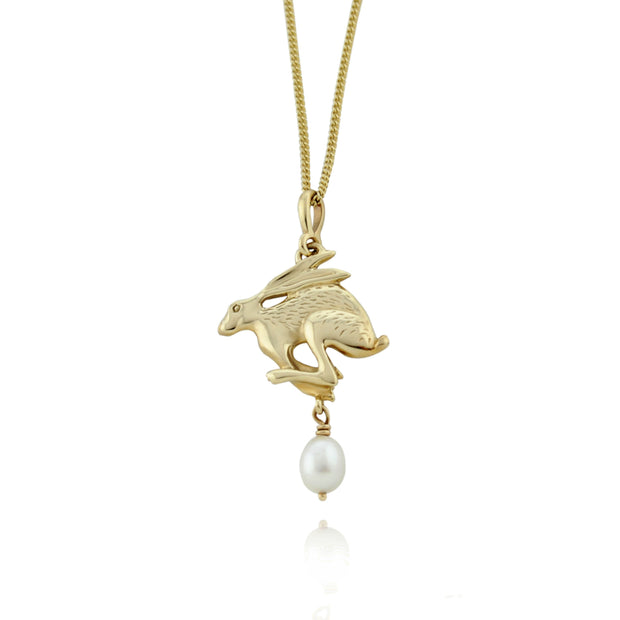 Designer solid 9ct gold carved hare with cultured pearl drop necklace