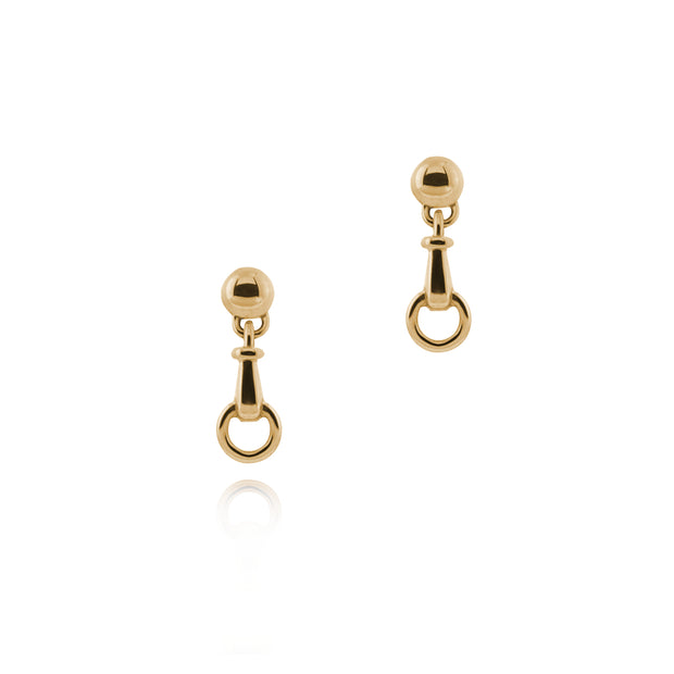 designer solid 9ct yellow gold horse bit inspired drop earrings on white background.