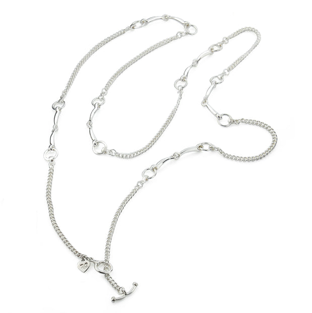 designer solid silver lariat horsebit and chain necklace
