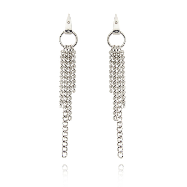 designer solid silver chain equestrian styled drop earrings on white background