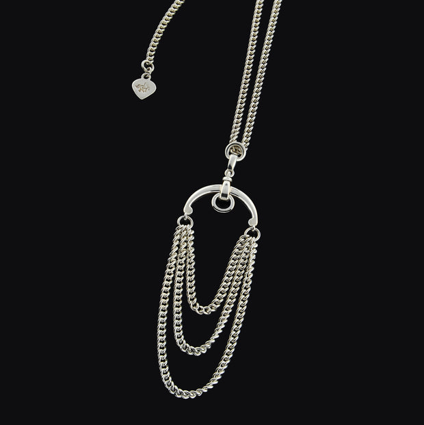 Designer three solid silver chain and horsebit  necklace.
