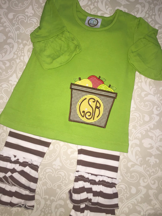 Fall monogram applique outfit