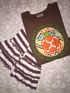 Thanksgiving Pumkin applique outfit with bible verse
