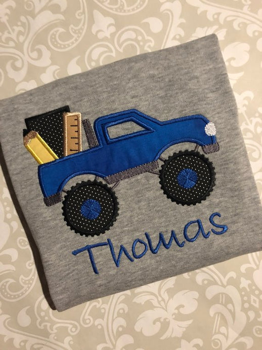 Back to school monster truck applique tee