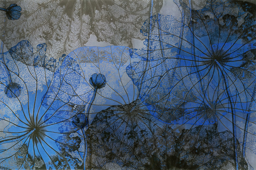 Wall Mural image of vintage Chinese floral painting in Blue & Grey, printed on wallpaper. Custom options available.
