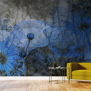 Wall Mural lifestyle image of vintage Chinese floral painting in Blue & Grey, printed on wallpaper. Custom options available.