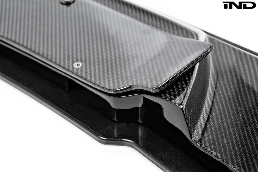 Detailed view of carbon fiber lower splitter for BMW cars