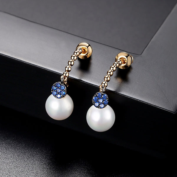 Classic Yellow Gold Plated Crystal 8mm Pearl CZ Drop Dangle Earrings
