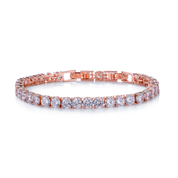 Classic 18ct Rose  Gold Plated Round Clear White Cubic Zirconia CZ Tennis Bracelet - TiaraBleu