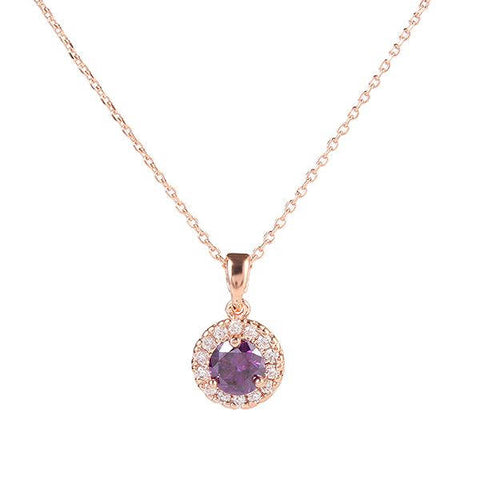 Solest Cluster Halo Rose Gold Plated Round Purple Amethyst Cubic Zirconia CZ Necklace/Pendant - TiaraBleu