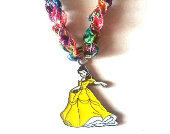 "Beauty & the Beast ""Belle"" Necklace with Crocheted Yarn Chain"