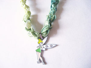 Tinkerbell Fairy Necklace with Crocheted Yarn Chain