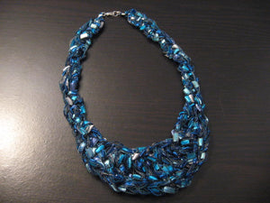 Crocheted Trellis Yarn Adjustable Bib Necklace - Splash, Silver Metallic, Aquamarine