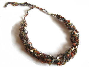 Crocheted Trellis Yarn Necklace Multi-Strand - Gold Rush