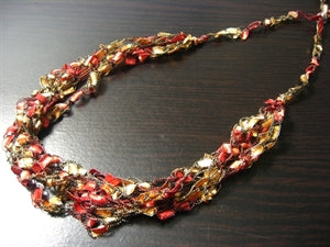 Crocheted Trellis Yarn Necklace Multi-Strand - Autumn