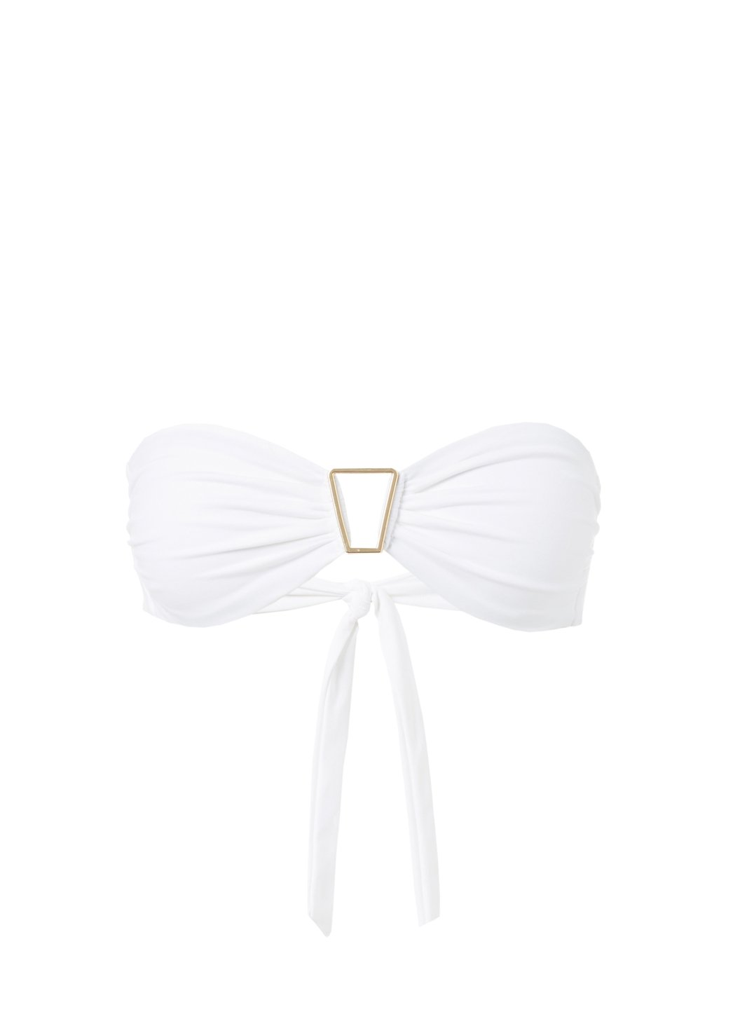 Barcelona White Bandeau Triangle Trim Bikini Top