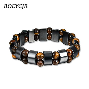 Tiger Eyes Stone Bead & Magnet Energy Bracelet