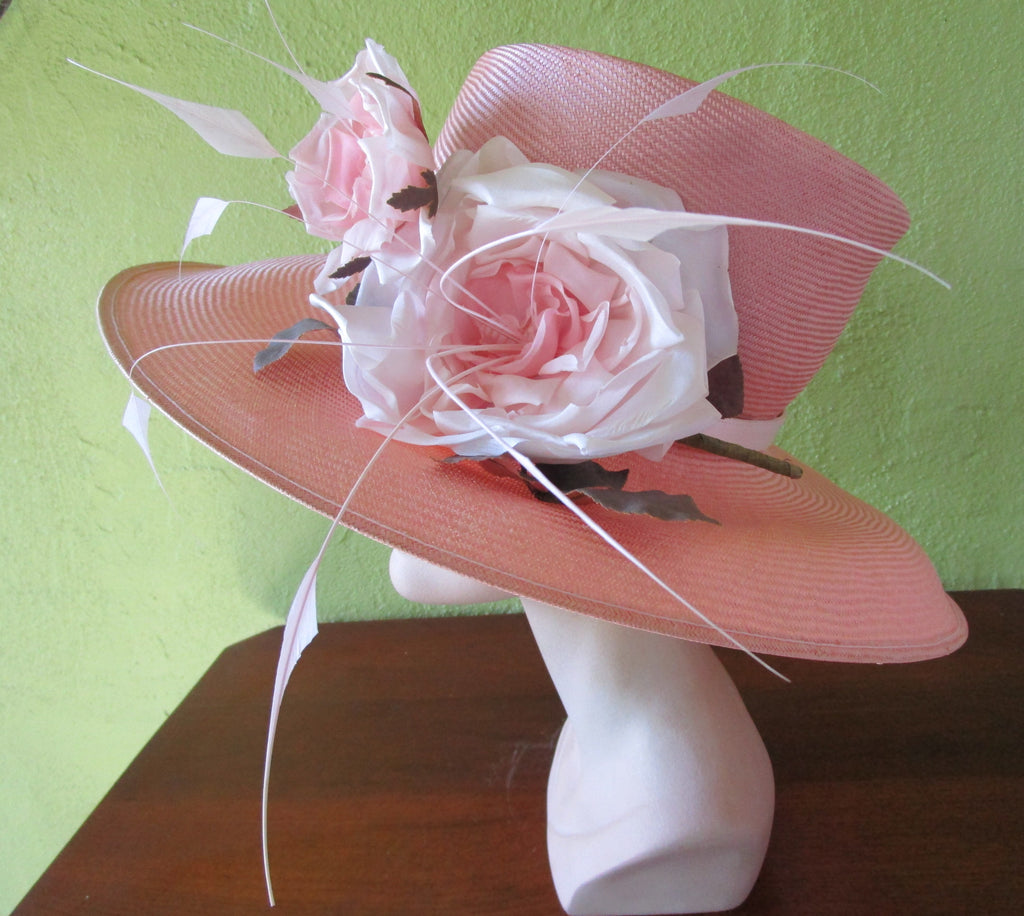 Philip Treacy London Pink Straw Hat Exquisite Silk Flower Feathers Sun Derby Church Easter