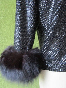 Diva Vintage Black Sequin Sweater Huge Fluffy Fox Cuffs Hong Kong Hand Knit