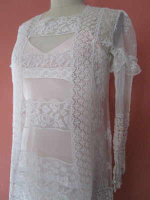 M- Tambour Lace Mesh Upcycled Long Sleeve Dress Slip Vintage Ivory Bridal Tea Length