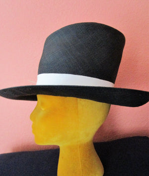 Philip Treacy London Black TALL Crown Straw Hat Feathers Sun Derby Church Easter