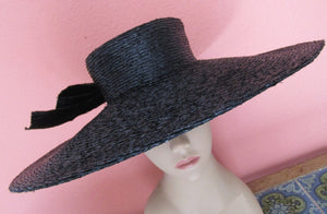 Lilly Dache Bonwit Teller Huge Wide Brim Portrait Hat Black Raffia Straw Paris New York Bow