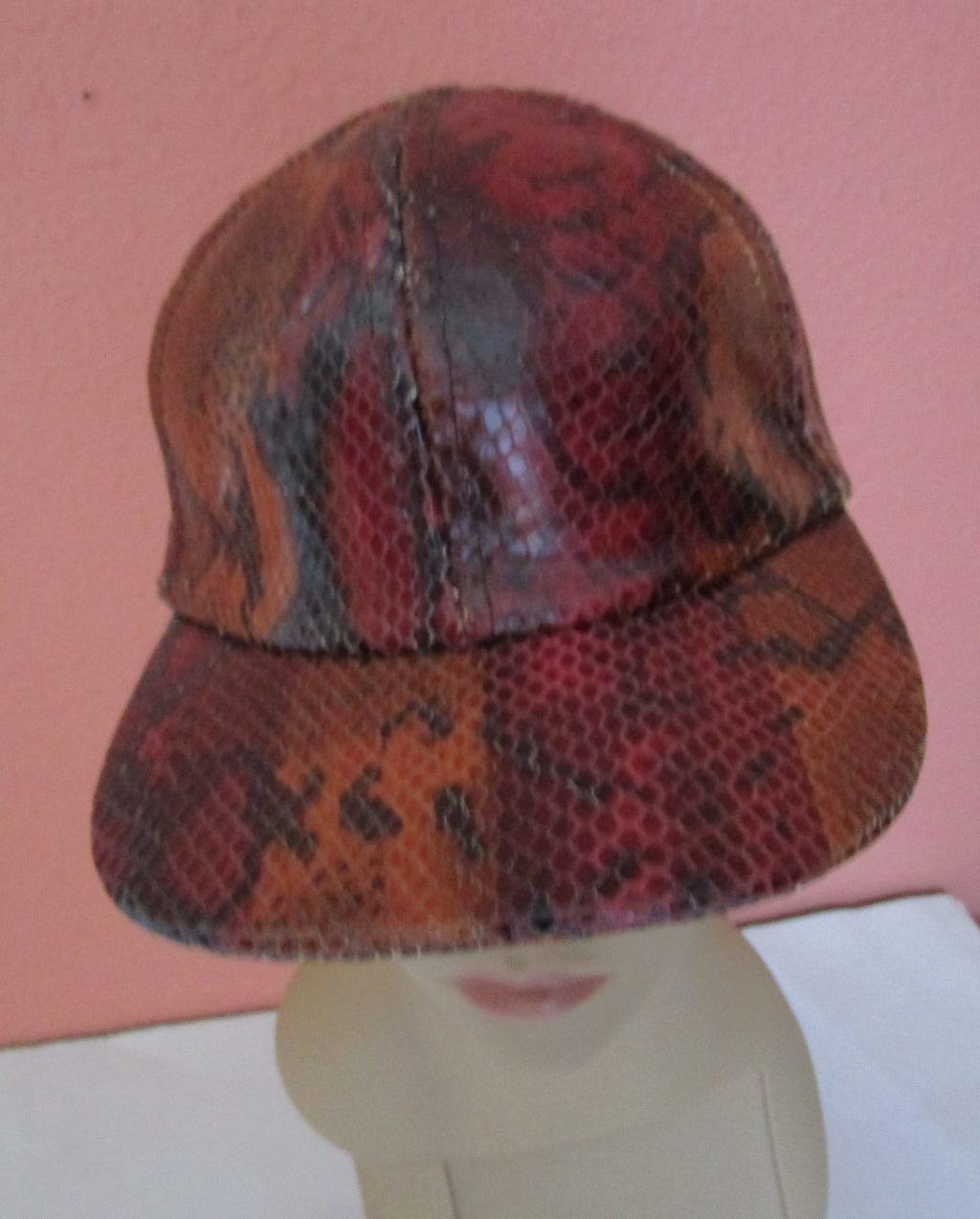 Kokin Python Snake Leather Visor Cap Hat Adjustable Baseball Brown Burgundy Black