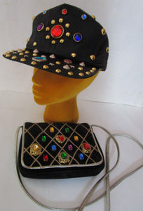80s Big Jewel Visor Cap Hat Baseball Neiman Marcus Crossbody Bag Italy Black Adjustable