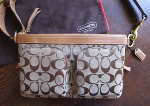 Coach Logo Waist Pack Bag Hip Pouch Fanny Pack Brown Tan Leather Brass