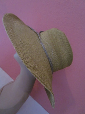 Seeberger Germany Golden Natural Straw Hat Wide Brim Sun Derby Church Easter Tea