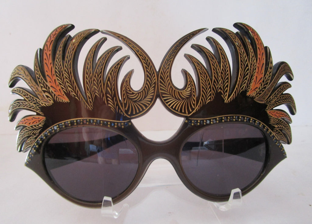1950s Mardi Gras Sunglasses Lunettes Hand Made France Art Deco Feathers Sparkles Eyewear