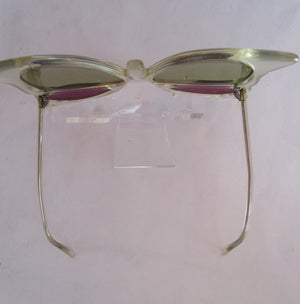 1970s England Sir Winton Butterfly SunglassesClear Lucite Green Purple Lens Collectors Eyewear