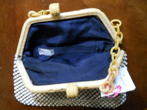 Ivory Carved Plastic Frame Vintage Whiting Davis Alumimesh Purse