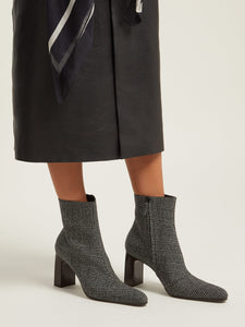 Prince of Wales checked twill ankle boots