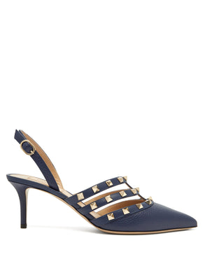 Rockstud slingback leather pumps