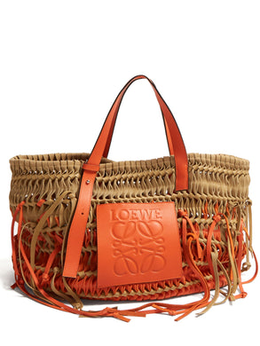 Anagram woven leather tote