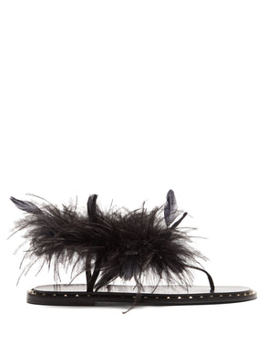 Feather-embellished leather sandals