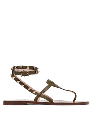 Rockstud-embellished grained-leather sandals