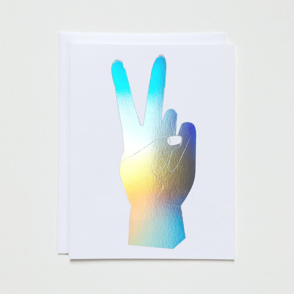 Banquet Workshop Peace Hand Hologram Note Card - MAVEN