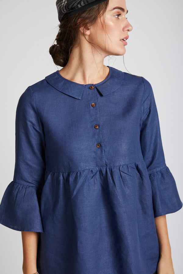 Bridge Gathered Top - Navy