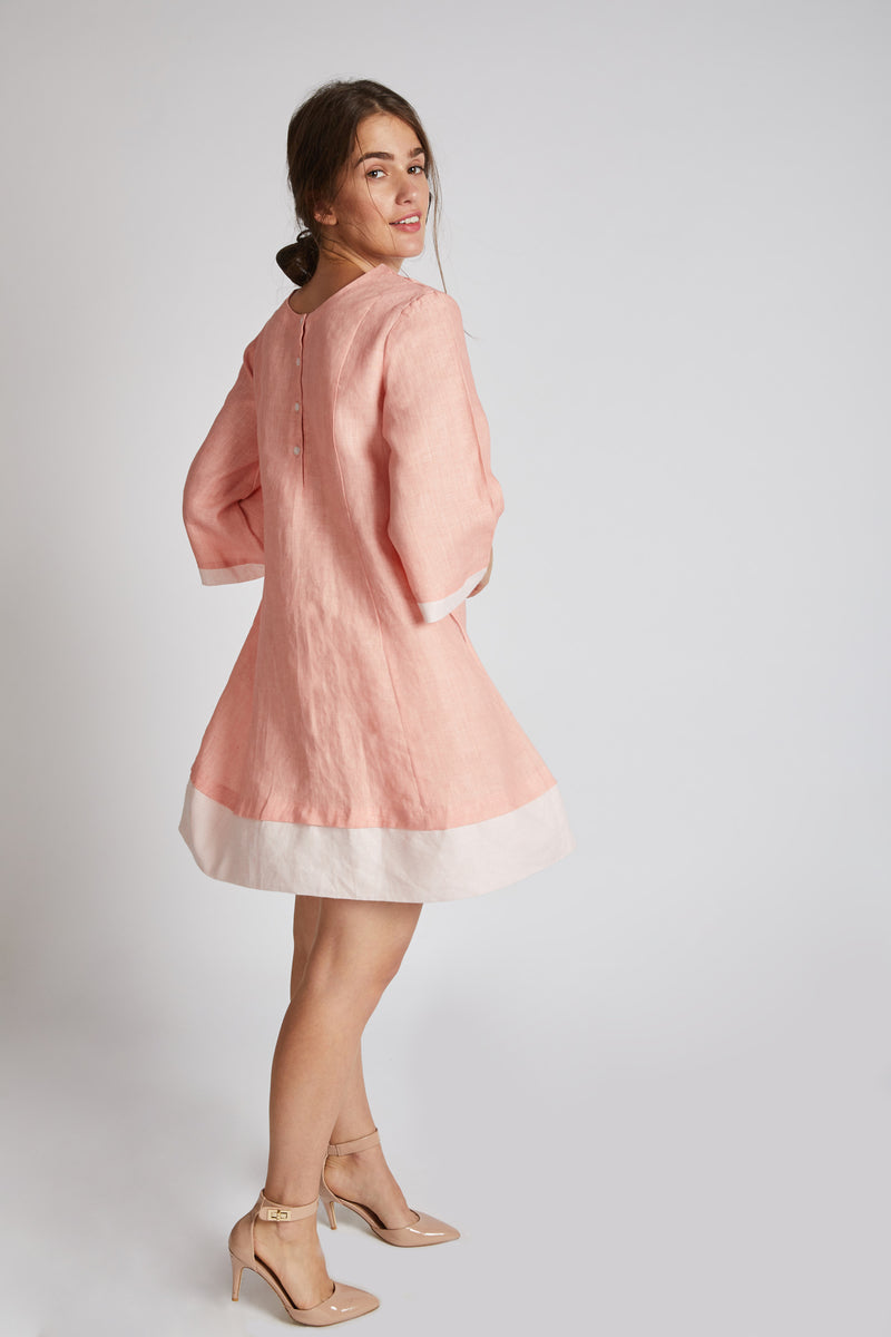 Papercrane Panelled Flared Dress - Peach