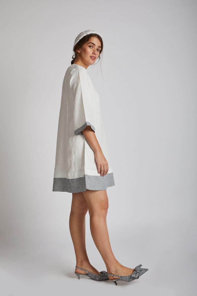 Papercrane Panelled Flared Dress - White
