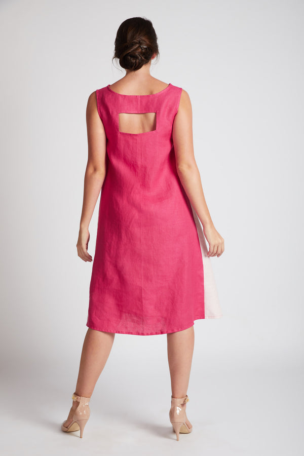 Pinwheel Sleeveless Dress - Hot Pink