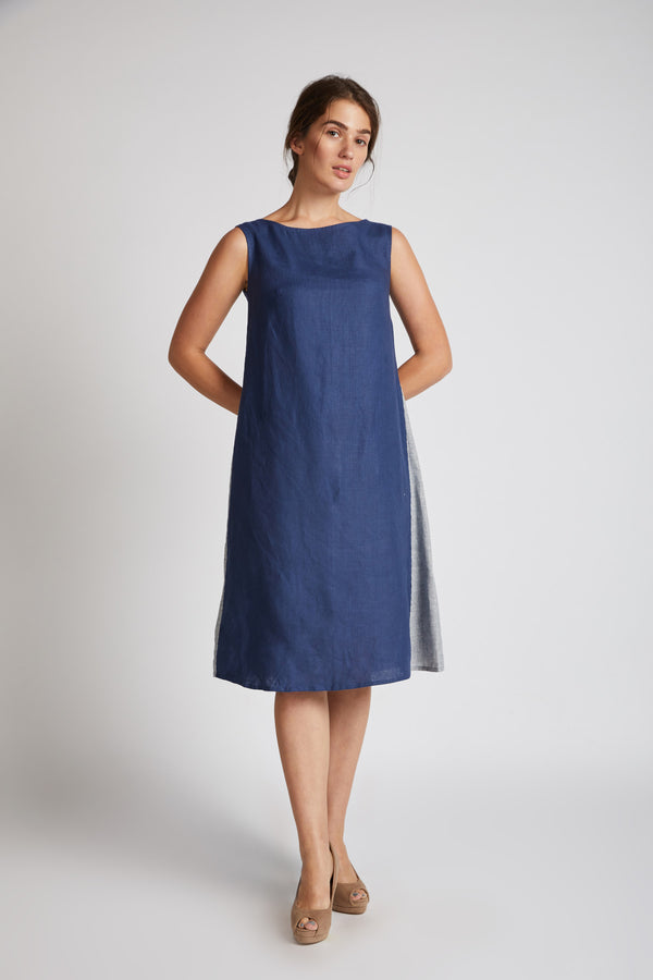 Pinwheel Sleeveless Dress - Navy