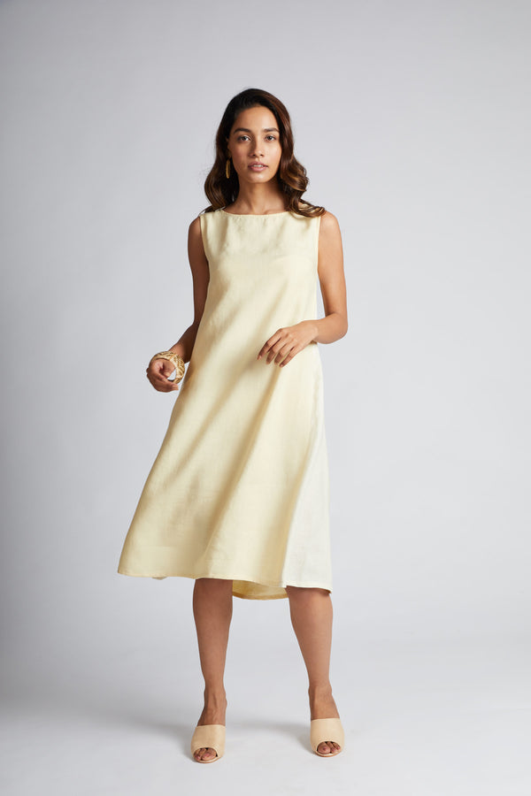 Pinwheel Sleeveless Dress - Yellow