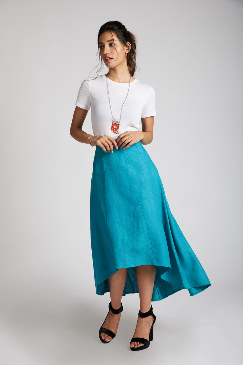 Sail High Low Skirt - Teal