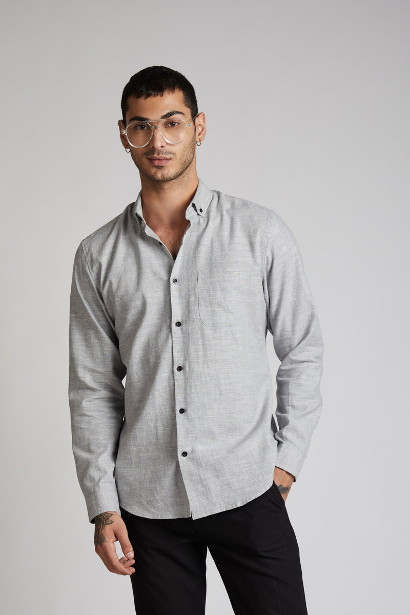 Velocity Buttondown Shirt - Grey Melange